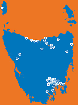 Map showing the location of all Neighbourhood Houses in Tasmania
