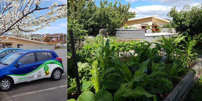 A combination image of a car and a community garden at Goodwood Community Centre