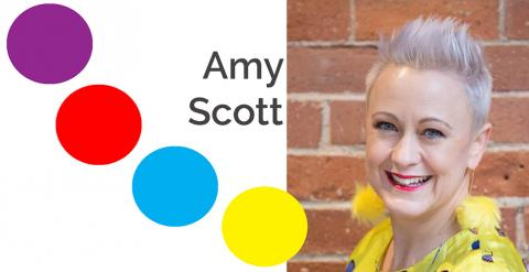 coloured dots with photo of Amy Scott